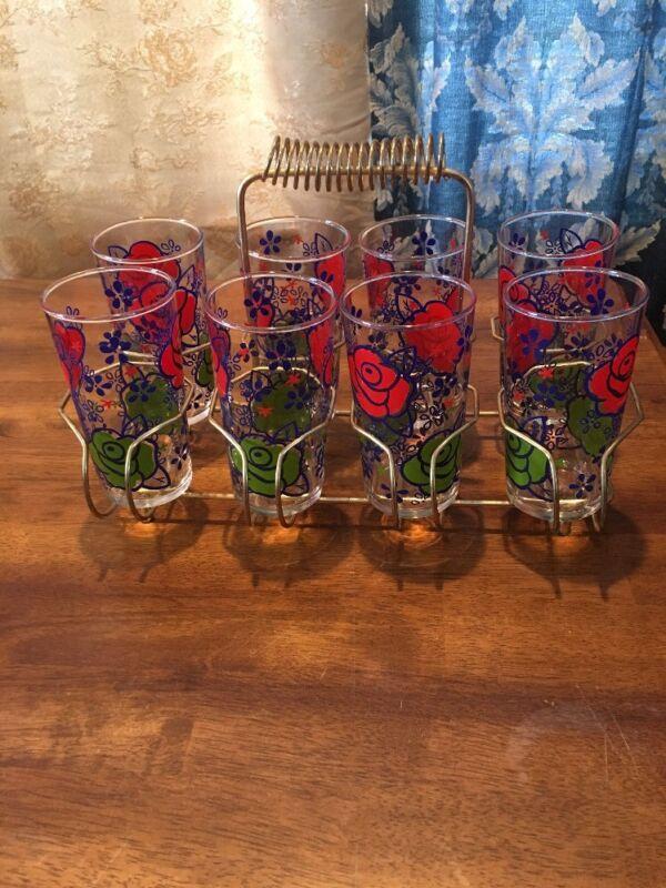 Vintage Swanky Swigs Juice Set With 8 Floral Red Rose Glasses & Metal Carrier EC