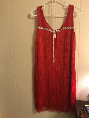 halloween spirit Red Flapper Dress And Accessories ADULT LARGE