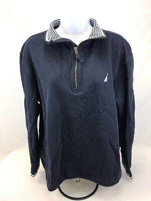 Nautica Women's Blue/White Long Sleeve 1/4 Zip Pullover Sweater Sz L