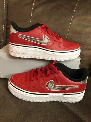 new styles 019be b09fe Nike Sz 4Y Air Force 1 LV8 Sport GS AF1 NBA Red Black White Kid Shoes