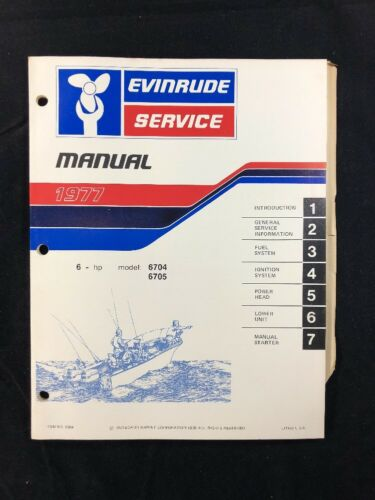 1977 EVINRUDE SERVICE MANUAL 6 HP ITEM NO. 5304 OUTBOARD SHOP REPAIR GUIDE OMC