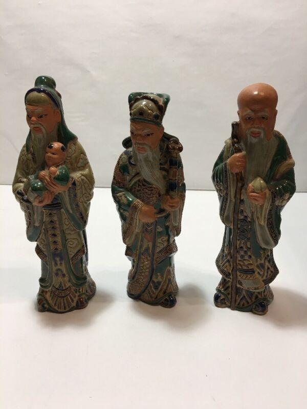 "Orient Asian Vietnamese Pottery Figure Fu Loc Thao Bien Hoa Gom mark ""as is"" NR"