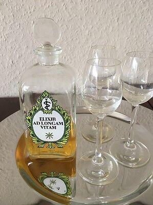 Apotherkerflasche Antik Vierkant Mit Beschriftung Schnapsflasche Likörflasche