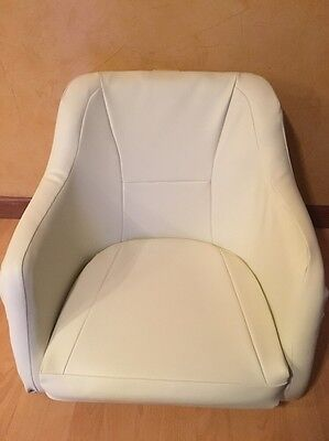 Marine Pontoon Boat Heavy Duty Captains Chair Seat With New Upholstery Off White for sale  Stroudsburg