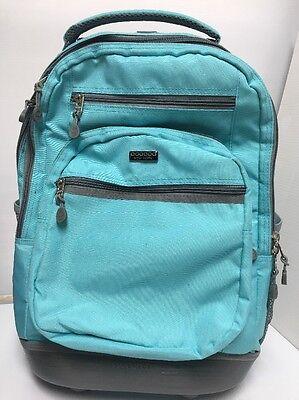 J World New York Sunbeam Rolling Laptop Backpack Wheeled Backpack Teal EXCELLENT