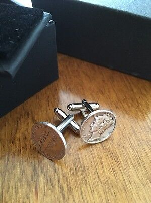 Silver Mercury Dime Cufflinks With Cufflink Box Included.