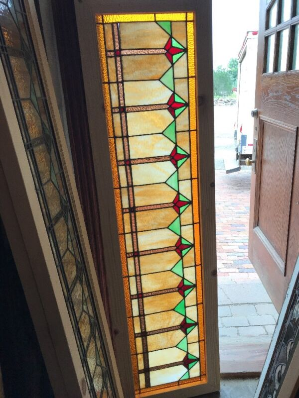 SG 2420 antique deco style stained glass transom window 18 x 65.75