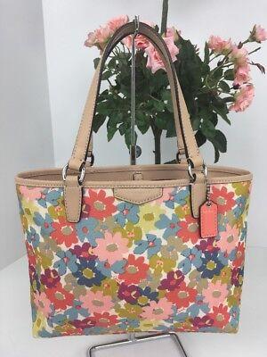 Floral Purse Bag (Coach MINI Tote Bag  F51596 Daisy Floral Purse Multicolor B2W)
