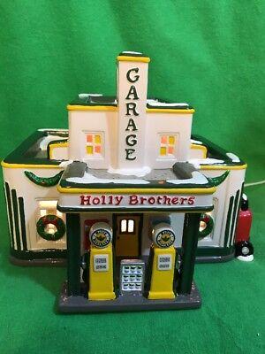 Original Snow Village Lighted  Holly Brothers Garage   Ceramic Dept 56  54854
