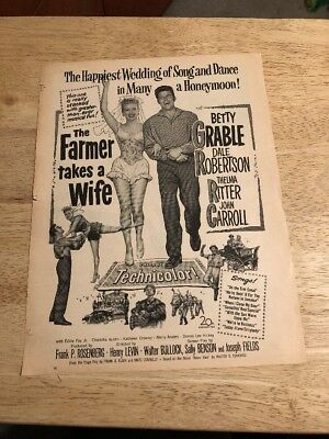 Vintage 1953 Movie Ad  THE FARMER TAKES A WIFE Betty Grable, Dale Robertson