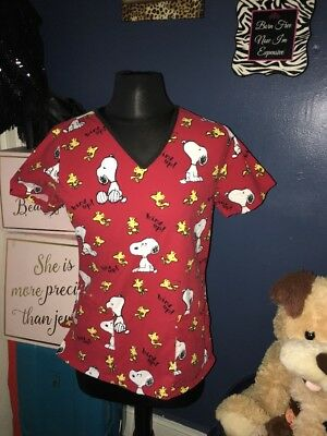 Snoopy Woodstock Scrub Top XS Red Bird Up Medical Dental Vet