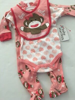 Sock Monkey Mädchen (Sock Monkey Baby Girl Coverall Bodysuit Bib Set Size 3 6 9 Months Layette Coral )