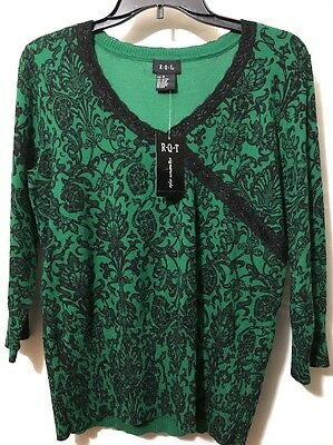 R.Q.T Women's Knit Blouse , Size Medium , Green , Black Floral, NWT.