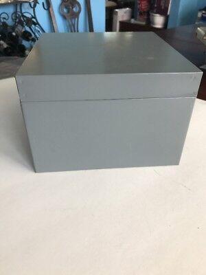 Metal Index Card Box Green Vintage Industrial Large Library File Storage Holder