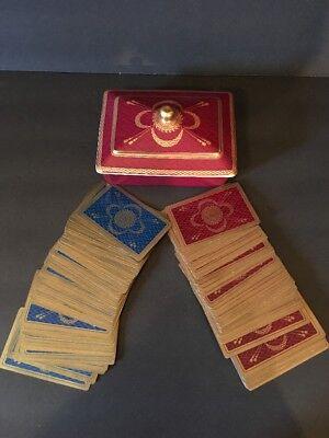 Vintage Neiman Marcus Porcelain Game Playing Cards Holder Poker Bridge decks