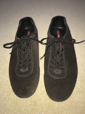 Prada Mens Brown Suede Lace Up Rubber Sole Bowling Shoe Trainers -