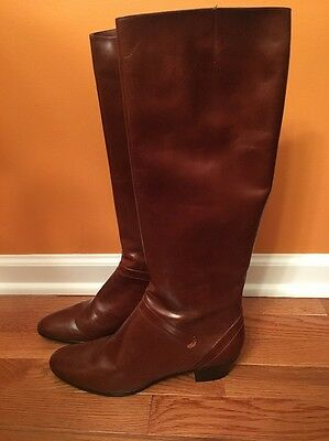 New Salvatore Ferragamo Brown Leather Women's Knee Boots For Saks Fifth Avenue 9