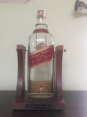 Johnnie Walker Red Label Vintage Half Gallon Bottle And Cradle Stand