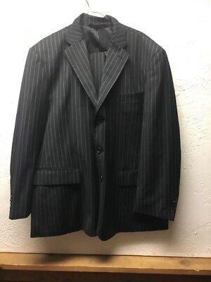 Pronto Mondo Mens Suit & Pants 24L Striped 40S Italian Merino Wool *FREE SHIP!* ()