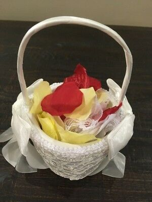 NWOT Beaded Flower Girl Basket in Ivory with Flower Petals Wedding Bridal - Flower Girl Petal Basket