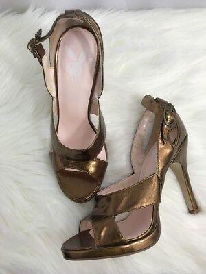 Playboy Womens Slingback Heels Shoes Sz 5.5M Gold - Playboy Womens Shoes