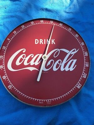 """Vintage 1950's Coca Cola Soda Pop Gas Station 12"""" Metal Thermometer Sign 495A"""
