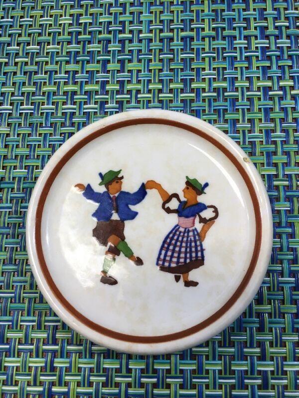 """VTG  German Porcelain Butter Pat German Folk Dancers 3"""" Germany"""