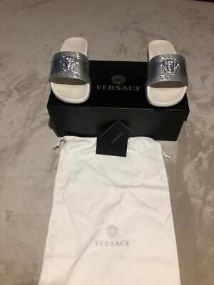 Versace silver 9 42 baroque angels print rubber sandal pool slides shoe $395 💎