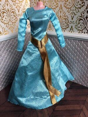 Deluxe Merida Blue Dress Gold Brave  Disney Classic Princess Doll Barbie