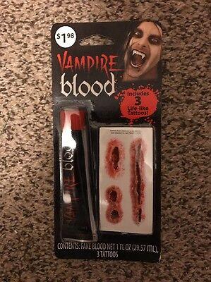 Halloween Vampire Blood Tattoos Makeup Kit Costume Theater Face Paint