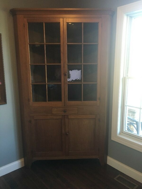 Early Antique Handmade Cherry Corner Cupboard 16 Panes Original Wavy Glass