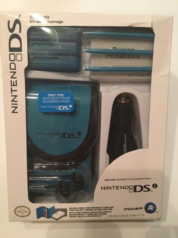 Nintendo DS Starter Kit - Teal Case Ear Buds - Car Adapter - Stylus - Card Cases