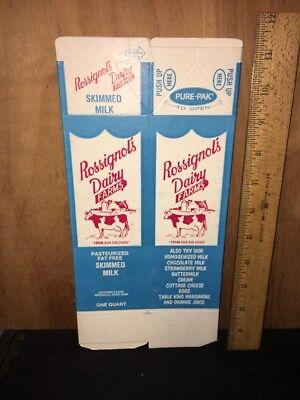 ROSSIGNOL'S DAIRY FARMS 1 QUART  MILK CONTAINER Carton WATERVILLE MAINE. 1 Quart Milk Carton