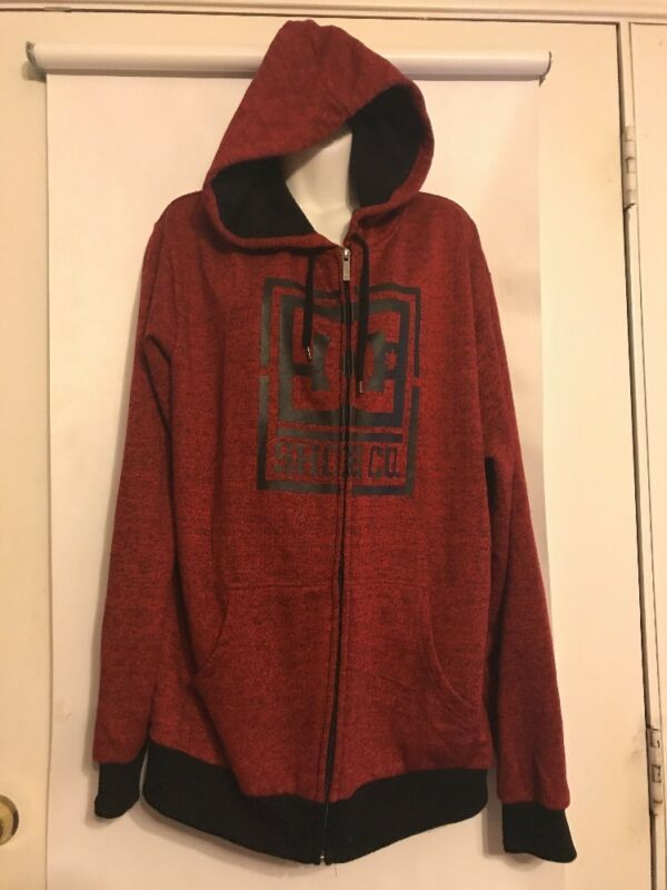 DC Shoe Co  Red and Black Full Zip Hoodie Size XL Soft