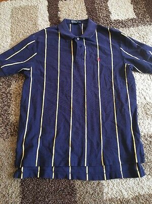 26 Rugby (Rare! POLO Ralph Lauren Rugby Mens L Yellow/Navy STRIPES Pony C26)
