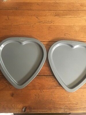 Lot 2 Wilton Heart Shaped Cookie Pan or Candy Pan  approx 7-3/4