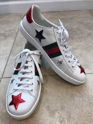Gucci New Ace Star Sneaker, SIZE 40 EU (10 US) WOMENS, White, Retail $650