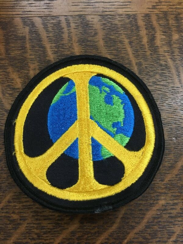 Peace Symbol  On World 🌎 Globe Anti War Protest 1960s 1970s Protest  Patch