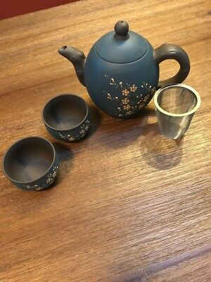"""6"""" Blue Floral Japanese Porcelain Teapot Teacups Infuser Tea Set"""