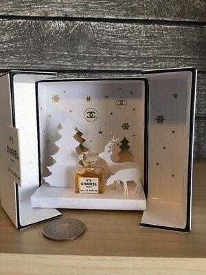 CHANEL No 5 EDP 1.5 ml/.05oz MINI Perfume Bottle In Collectible Box ~ Christmas