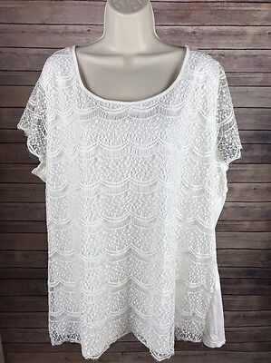 Lane Bryant Women's Casual Lace Top - White, Size 22/24