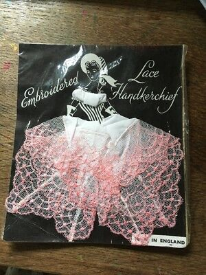 Vintage Embroidered Crinoline Lady  Handkerchief New In Packet