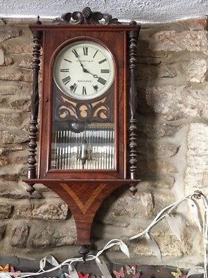 Stylish19c Antique American Inlaid Walnut Case Wall Clock Skarratt Co Worcester