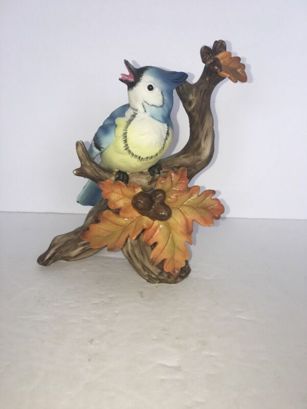 """Vintage BlueJay On A Branch 6"""" Tall"""