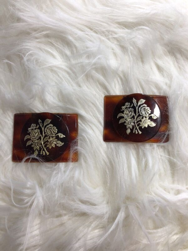 Vintage Celluloid Tortoise Shell Style Shoe or Dress Clips Floral