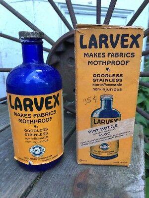 Vintage 1930's Larvex Spray MothProof Cobalt Blue Bottle and Box VTG Display