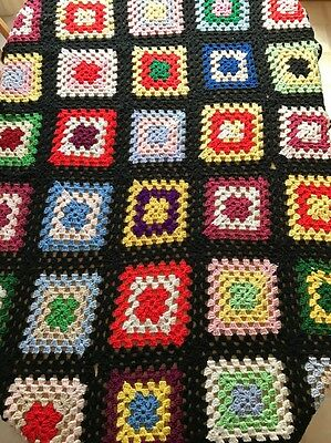 "Vintage Dark Shadows Black Granny Square Afghan 46"" X 70"" Crocheted"