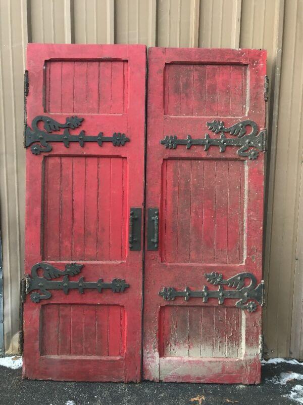 CM 232 match Pair antique Gothic double door entry set 1892 66 x 93 x 2.75