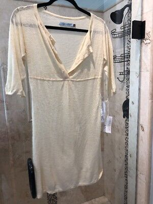 New NWT LILY McNEAL Nude BAMBOO & Sheer Sweater SLEEVE KNIT DRESS S (Lily Kimono Sleeve Dress)