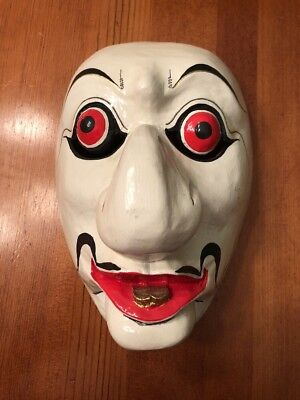 Hand Carved Painted Japanese Carved Wood Kabuki Noh Theater Folk Art Mask Java for sale  Shipping to Canada